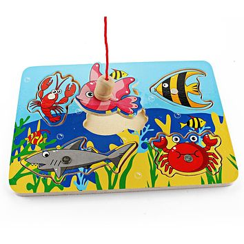 Cute Ocean Animal Crab Fish Baby Puzzle Preschool Infant Magnetic Fishing Wooden Toy 3D Jigsaw Children Educational Gift Toy