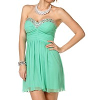 Sale-mint Pleated Strapless Party