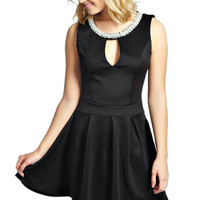 Pearl Neck Key Hole Front Skater Dress in Black or Red