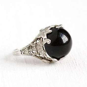 Vintage Onyx Ring - Antique Sterling Silver Filigree Black Cabochon - Art Deco 1930s Size 8 3/4 Gemstone Flower Leaf Jewelry