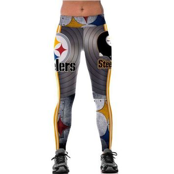 DCCKH6B Unisex Pittsburgh Steelers Logo Fitness Leggings Elastic Fiber Hiphop Party Cheerleader Rooter Workout Pants Trousers Dropship