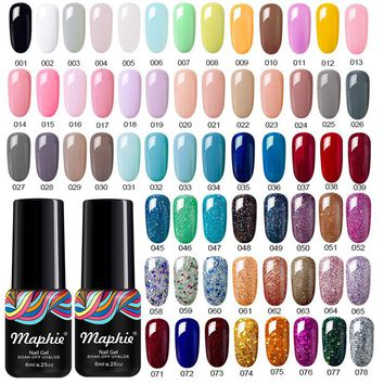 Maphie Semi Permanent Led Gel Nail Polish 6ML 78 Colors UV Gel Nail Varnish Soak Off White Color Gel Polish