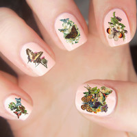 25 Vintage Flowers and Butterflies Nail Decals Waterslide