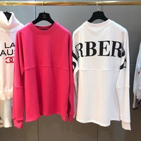 """""""Burberry"""" Women Casual Fashion Letter Long Sleeve Pullover Sweater Loose Tops"""