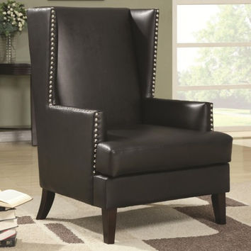Accent Seating Wing Back Accent Chair in Transitional Furniture Style with Nail Head Trim