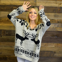 Season's Greetings Black Oversized Rustic Reindeer Sweater
