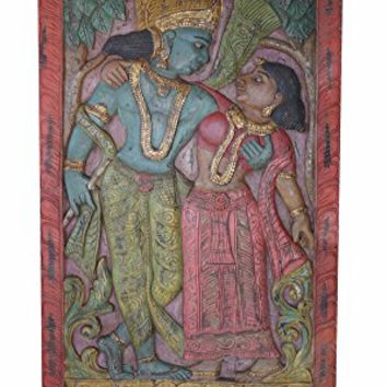 Antique Vintage Hand Carved Radha Krishna Divine Love Wall Sculpture,Spiritual Yoga Barn Door