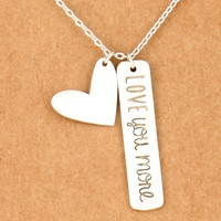 Love you more Etching on Metal Bar Necklace