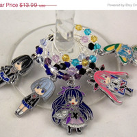 Date A Live inspired wine glass charms set of 5 anime charms handmade wine charms party chibi JPOP wine charms