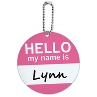 Lynn Hello My Name Is Round ID Card Luggage Tag