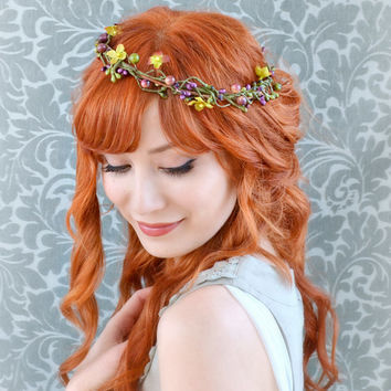Rustic wedding crown, autumn hair wreath, whimsical head piece, fall hair accessories