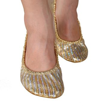 EFINNY Women Girl Belly Dance Shoes Slipper Flat Ballet Gymnastics Dancing Shoes
