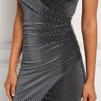 Grey Velvet Ribbed Knit Surplice Bodycon Dress