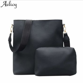 Aelicy Simple Female Handbags 2 Pcs Women Composite Bag Set Ladies PU Leather Large Capacity Shopper Shoulder Bags Vintage