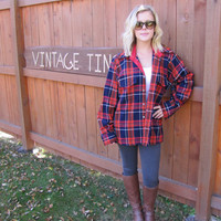 red grunge flannel shirt. oversized flannel. red and blue flannel. pointed collar shirt. red plaid shirt. red lumberjack shirt. 70s flannel.