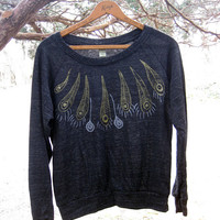 birds of a feather Peacock Slouchy Pullover, Peacock Shirt, Boho Top, Gold and Silver Feathers, S,M,L,XL