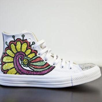 QIYIF trainers white high top customised converses with varried swarovski crystals brightly