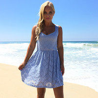 Grace Of Lace Babydoll Dress In Blue