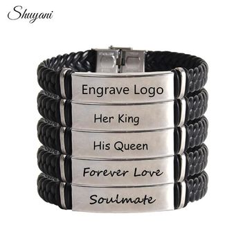 Laser Engrave DIY Letter Bracelet Personalized Name ID Bracelet Men Stainless Steel Soft Leather Braided Rope Bracelet Customize