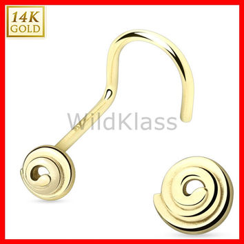 14k Gold Nose Screw Spiral 14k Solid Yellow Gold 20g Tiny Nose Stud Nose Ring Real Gold Piercing Jewelry