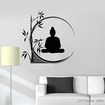 Buddha Meditation Wall Decals  Circle Yoga Reed Buddhism Wall Stickers For Yoga Studio Removable Art Mural Home Decoration L349