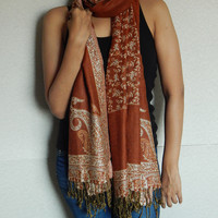 Floral Pashmina Scarf Indian Scarf Shawl