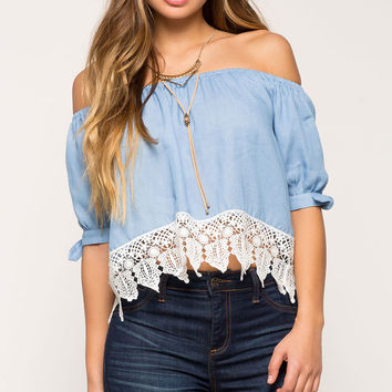 Crochet Chambray Off Shoulder Top