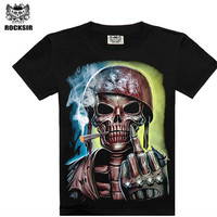 T shirt men new fashion Black skull smoker printing shirts for rock men heavy metal hip hop black t shirt  camisas hombre
