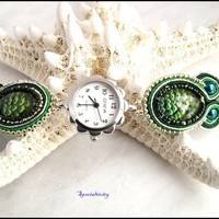 Peacock Green and Silver Hand Beaded Geneva Soutache Watch