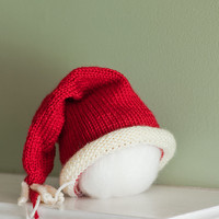 Santa Baby Hat 3 - 6 month old with rolled brim knit