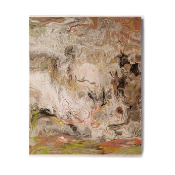 "Catherine Holcombe ""Earth Marble"" Brown Tan Abstract Geological Painting Birchwood Wall Art"