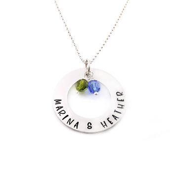 Personalized Family Washer Name and Birthstone Personalized Necklace