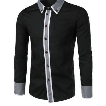 Streetstyle  Casual Contrast Gingham Trim Men Shirt With Button Down Collar