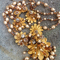 Huge runway seashell vintage designer DeMario parure hand wired baroque pearls  russian gold over the top set