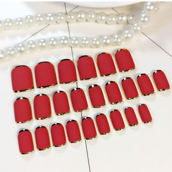 Hot Sell 24pcs Full Cover Red Rose Pink Self-Adhesive Fake Nail Polish Tips  Glued False Nails French Manicure Tips