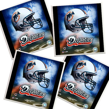 Miami Dolphins Coasters, Miami Dolphins, Football Coasters, NFL, Fathers Day, Sports Coasters, Man Cave, home decor, orange and teal, Miami
