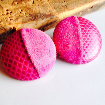 Etsy, Etsy Jewelry, Pink Earrings, Vintage Earrings, Pink Suede, Pink Leather, Clip Ons, 80's Earrings, 1980's Earrings