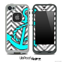 Sketch Black/White Chevron and Turquoise Anchor Skin for the iPhone 5 or 4/4s LifeProof Case