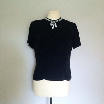 1940s vintage blouse / black beaded blouse / by cashmerevintage