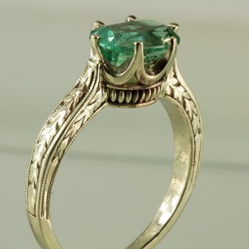 Mint Green Tourmaline 14kt White Gold Ring
