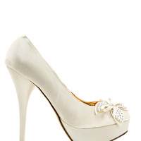 Rhinestone Bow Satin Pump