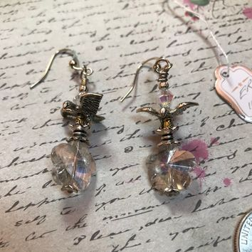 Handcrafted Small Dangle bird with crystal star flower Earrings clear on silver GREAT GIFT for MOM