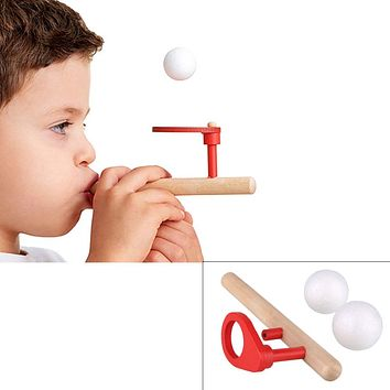 Baby Wooden Toys Kids Blowing Ball Balance Training Blow Ball Rod Children Boys Girls Toy