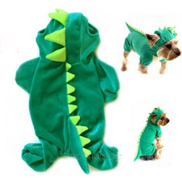 Dinosaur Hoodie Pet Dog Costume Clothes Pet Coat Sweater Green = 1931647556