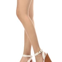 White Faux Leather Wooden Ankle Strap Wedges