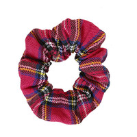 School Girl Plaid Scrunchie - Pink
