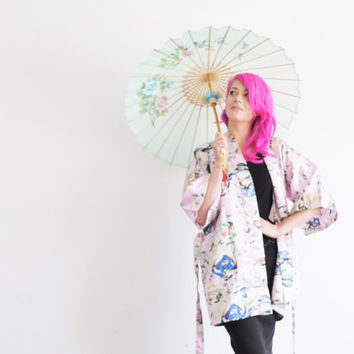 pastel pink kimono robe . traditional geisha cover up .small.medium