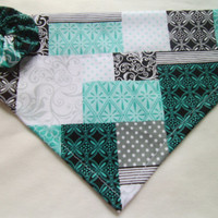 Dog Bandana Quilted Pattern black blue gray teal Over the Collar Bandana with YO YO
