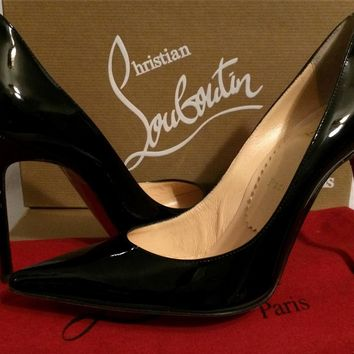 Christian Louboutin DECOLLETE 100 Black Patent Leather Pumps Heels Shoes 38.5