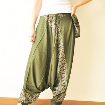 SALE 20% All Around The World...Olive Green Printed Rayon Harem Pants